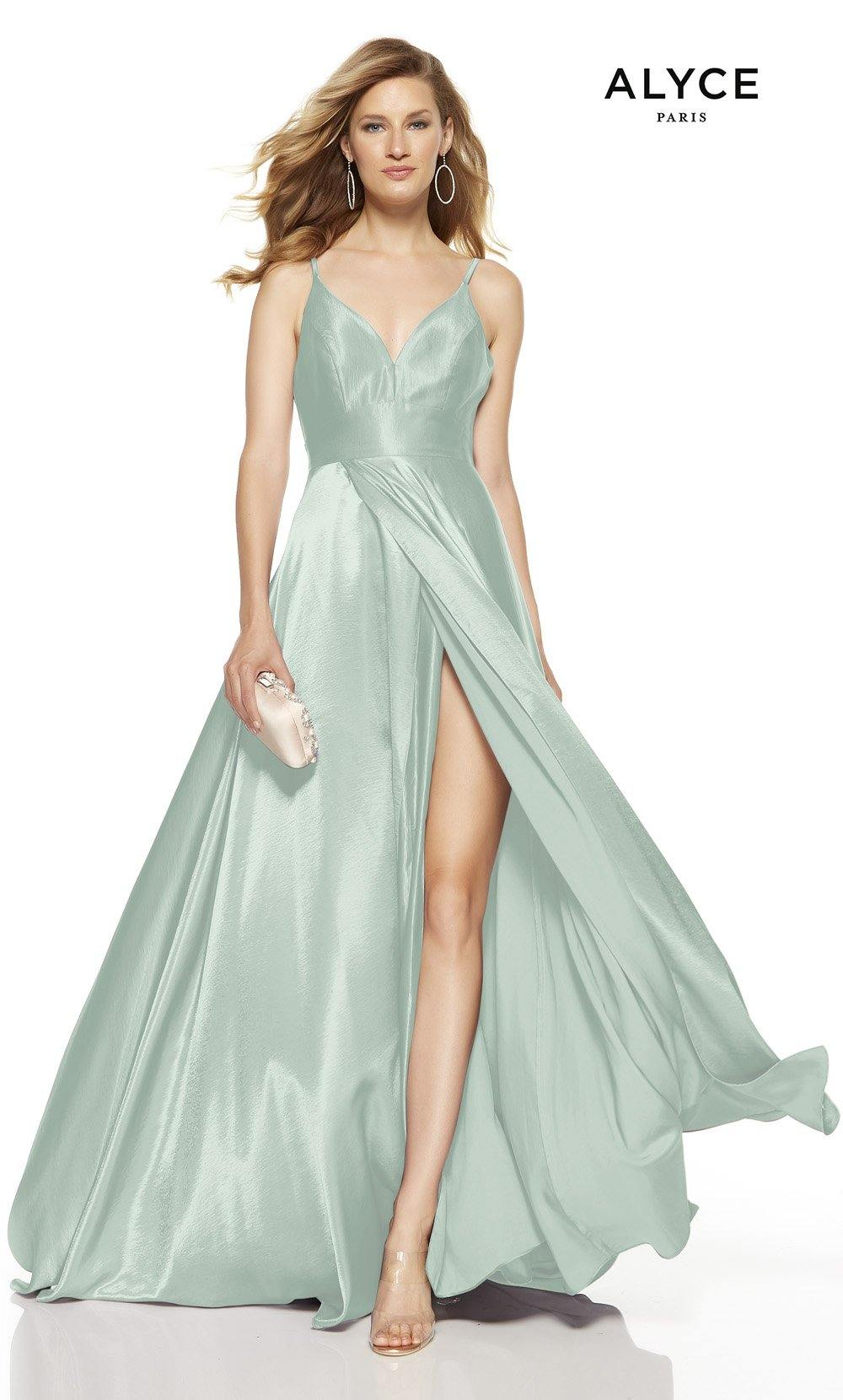 Sea Glass formal dress with a V-neck and a high slit