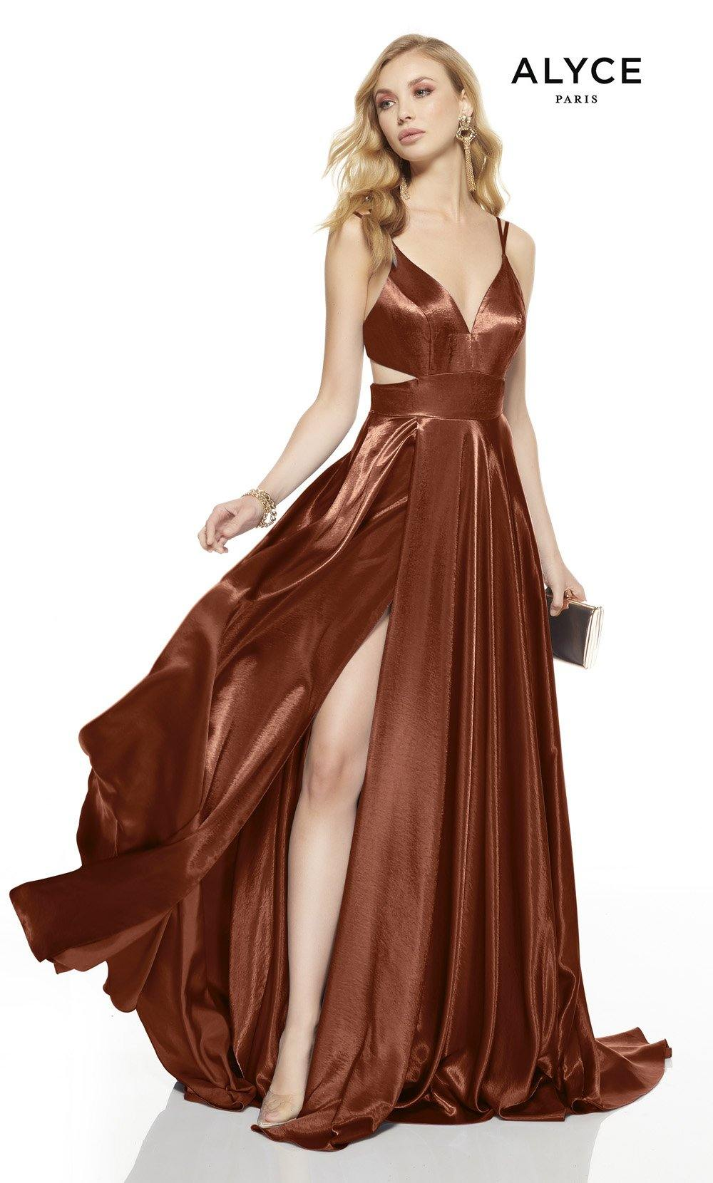 Cinnamon prom dress with a v-neckline, side cutouts and a high slit