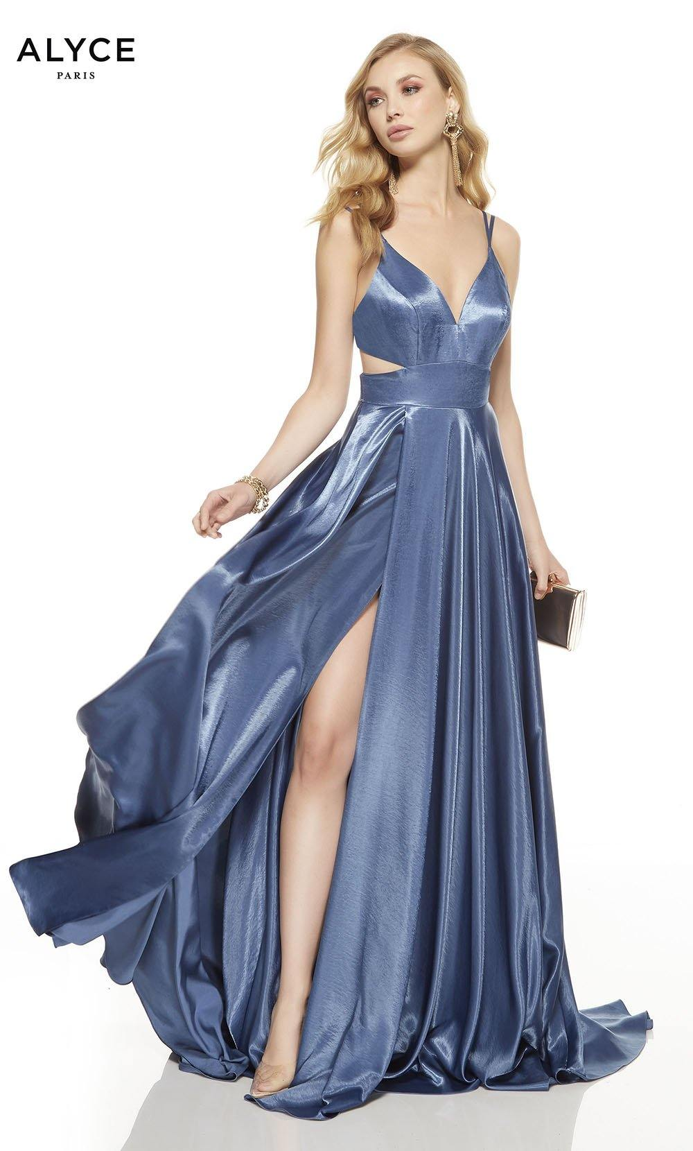 Deep French Blue prom dress with a v-neckline, side cutouts and a high slit