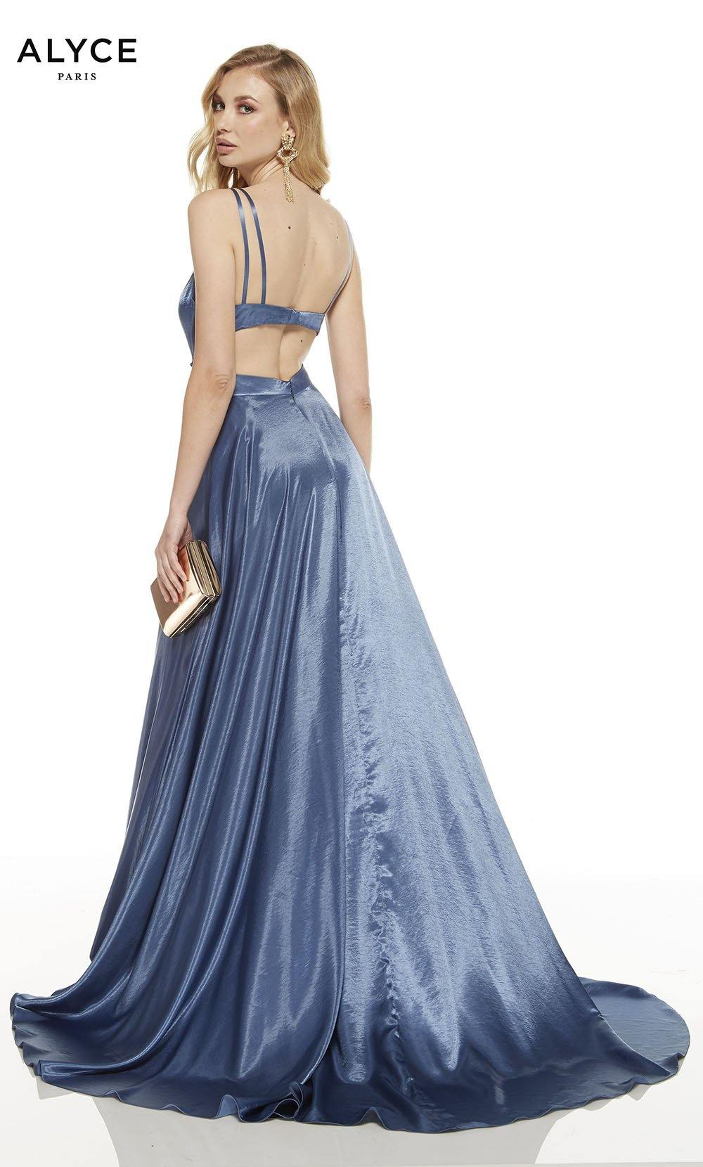 Deep French Blue prom dress with a cutout back