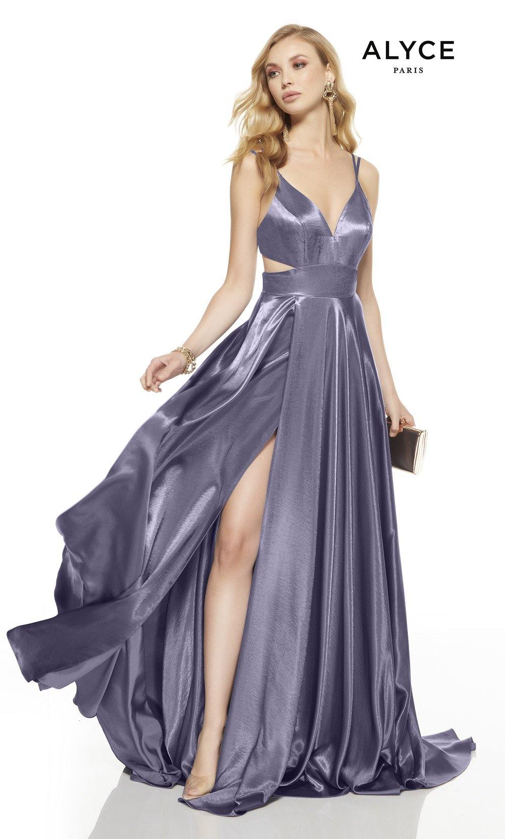 Lilac-Grey prom dress with a v-neckline, side cutouts and a high slit