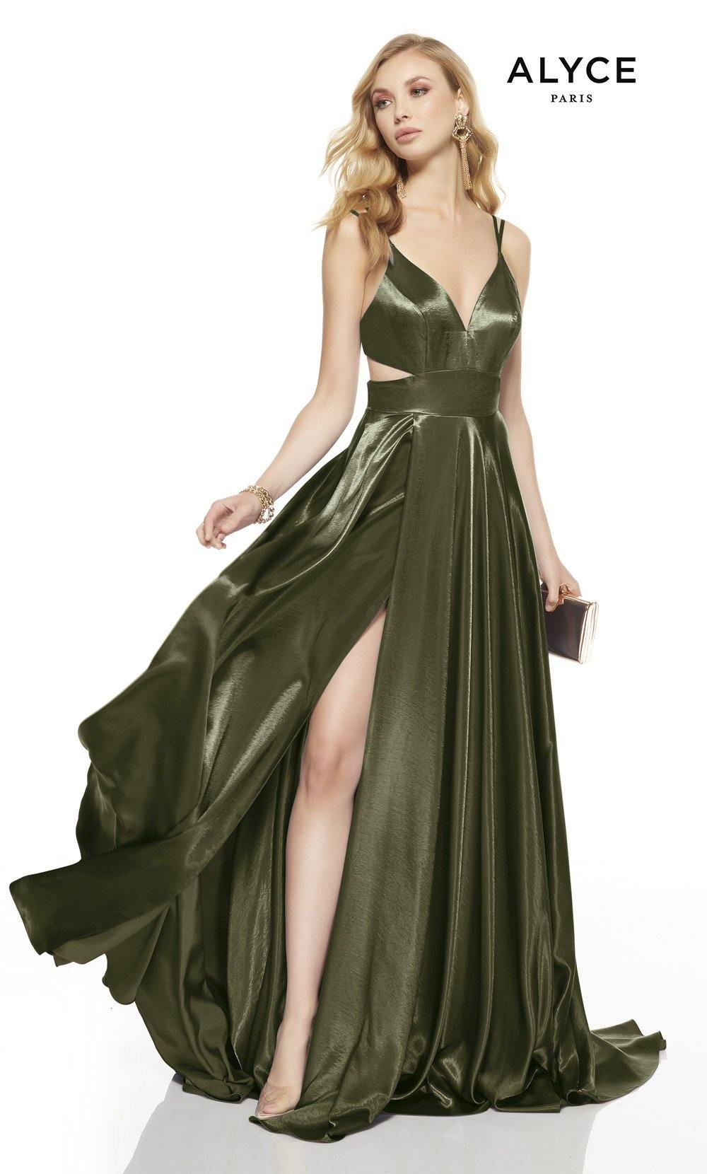 Olive Green prom dress with a v-neckline, side cutouts and a high slit