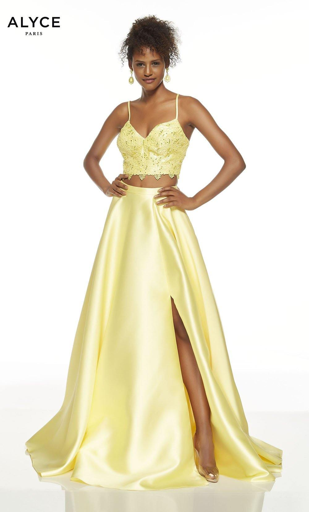 Lemon Drop Yellow two piece formal dress with a V-neck lace crop top and a slit