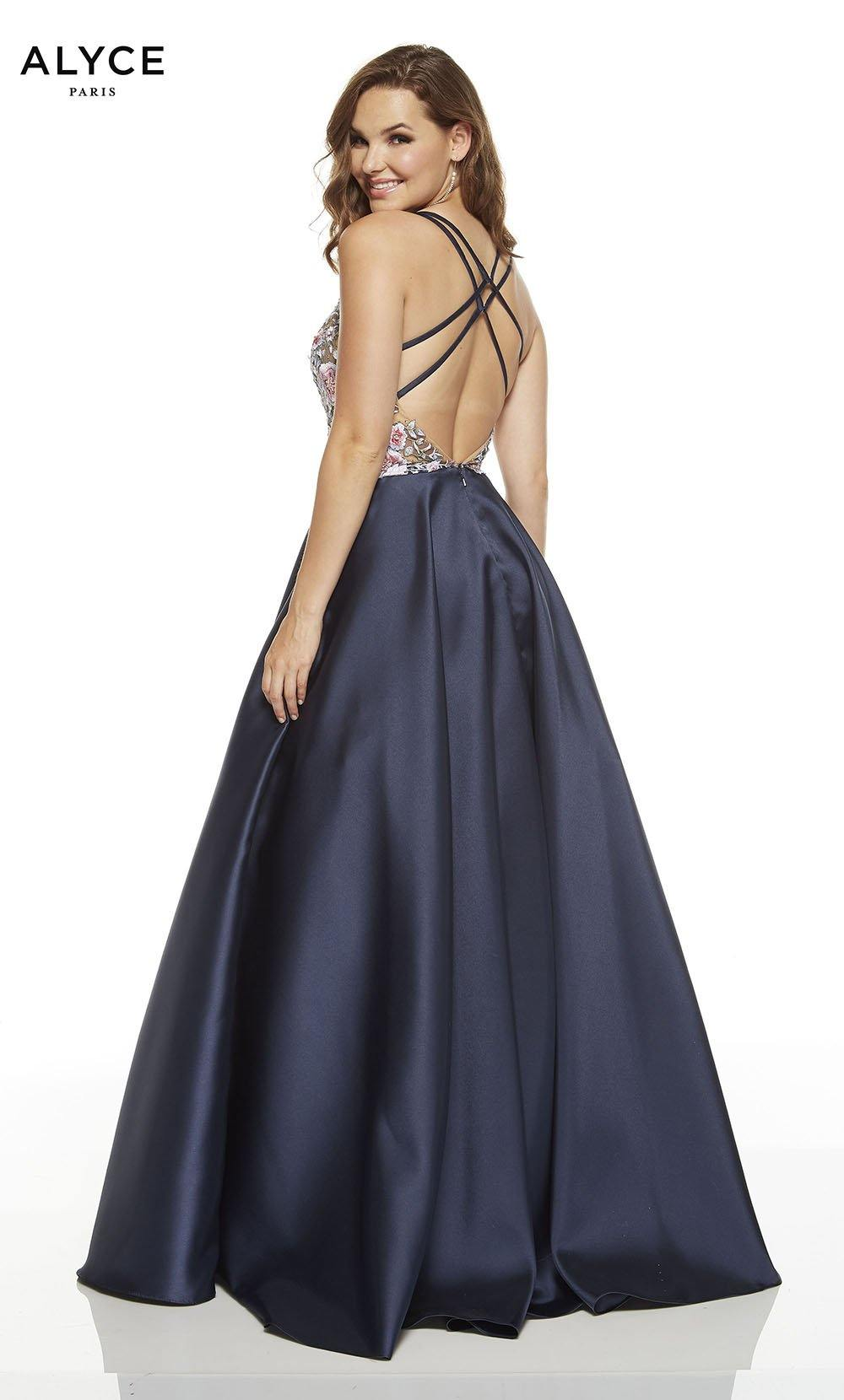 Midnight Blue ball gown with a strappy back
