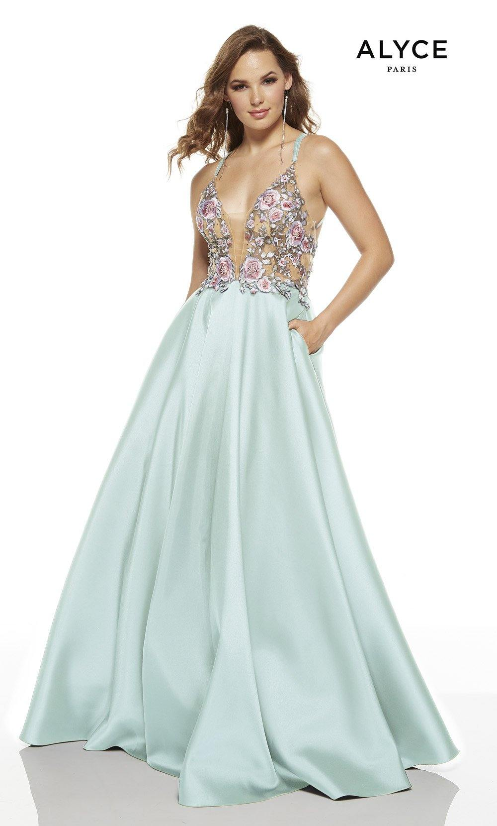 Sea Glass ball gown with pink floral embroidery on bodice, pockets and a plunging neckline