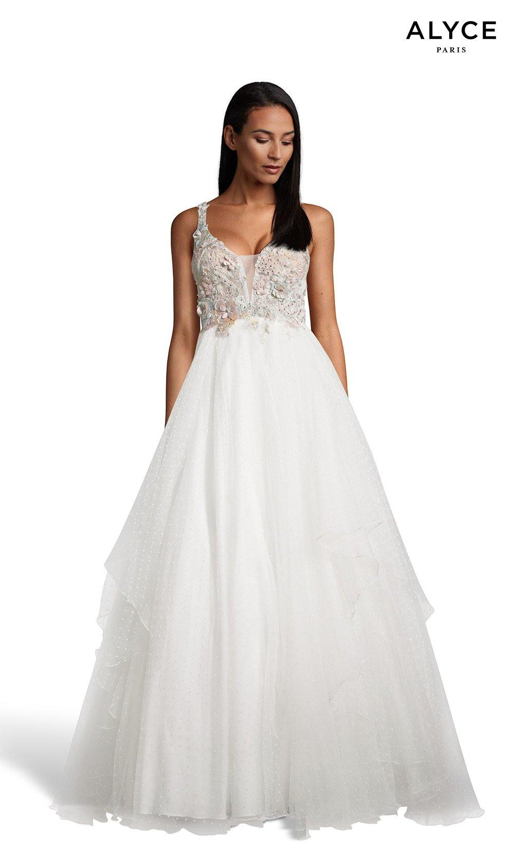 Diamond White layered ball gown with 3d florals on bodice and a plunging neckline