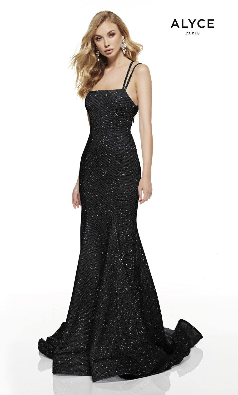 Black mermaid style prom dress with a squared neckline and a sweep train