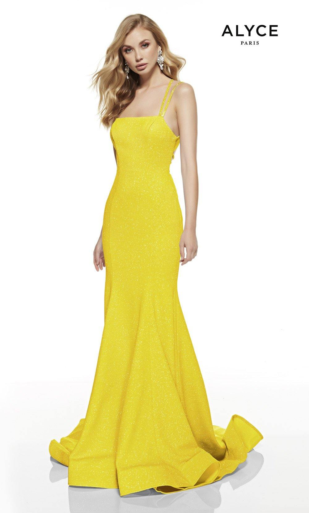 Bright Yellow mermaid style prom dress with a squared neckline and a sweep train