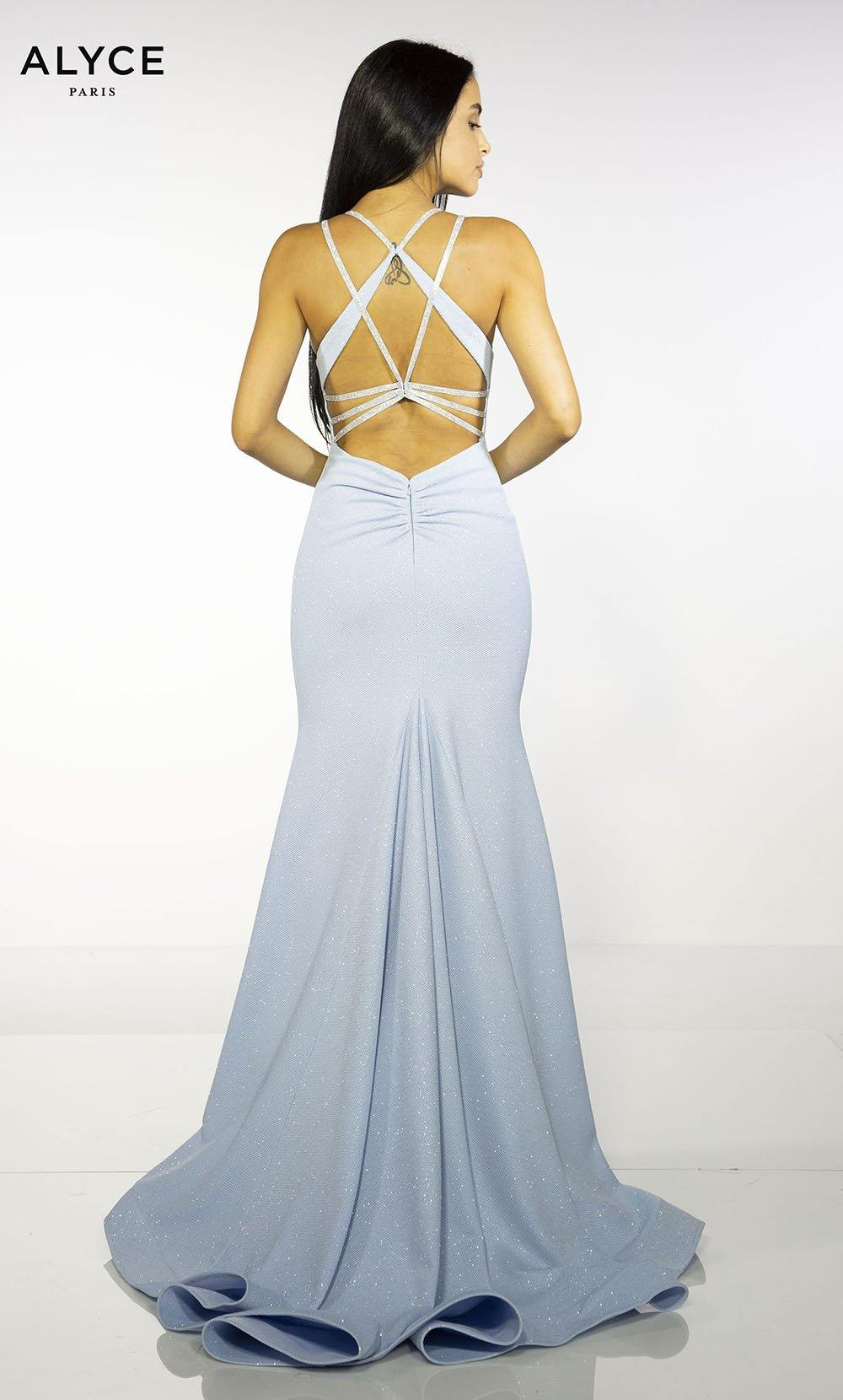 Glacier Blue mermaid style prom dress with a strappy back and sweep train