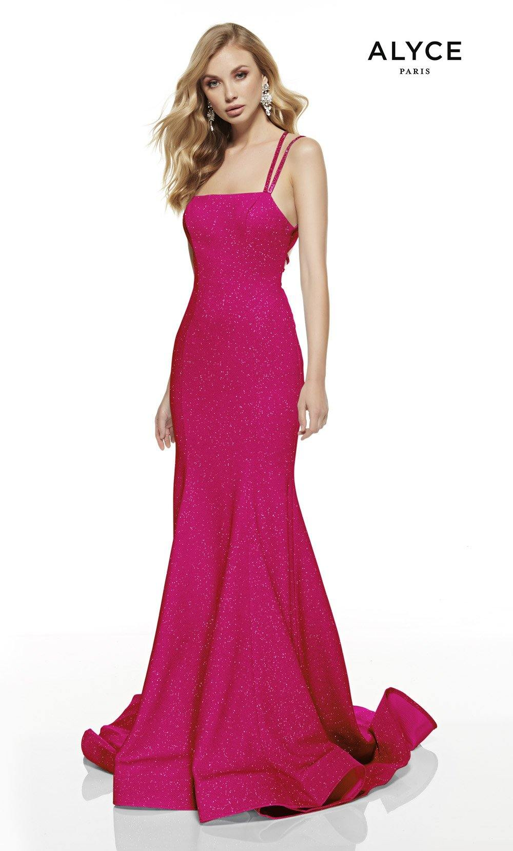 Hot Pink mermaid style prom dress with a squared neckline and a sweep train