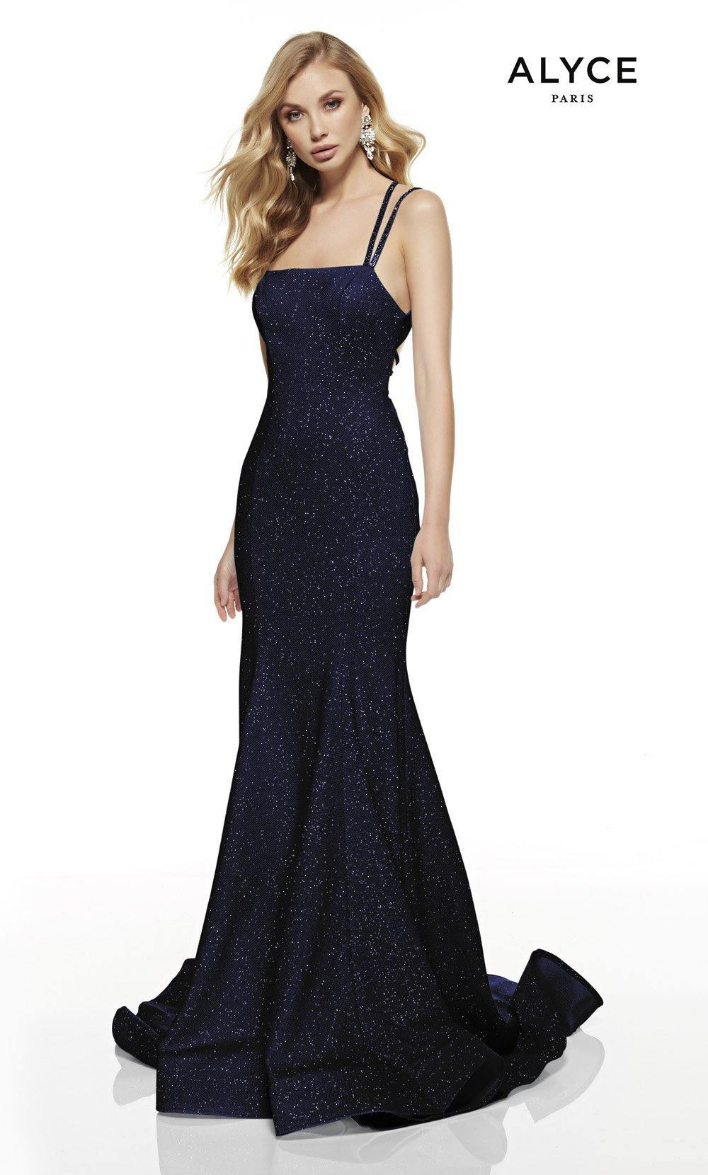 Midnight Blue mermaid style prom dress with a squared neckline and a sweep train