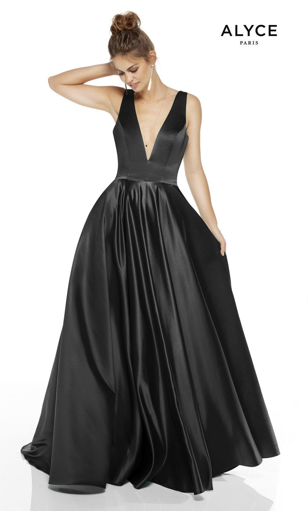 Black formal dress with a plunging neckline