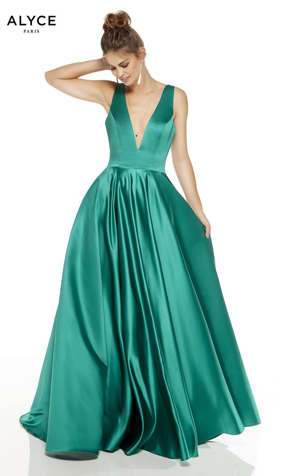Emerald formal dress with a plunging neckline