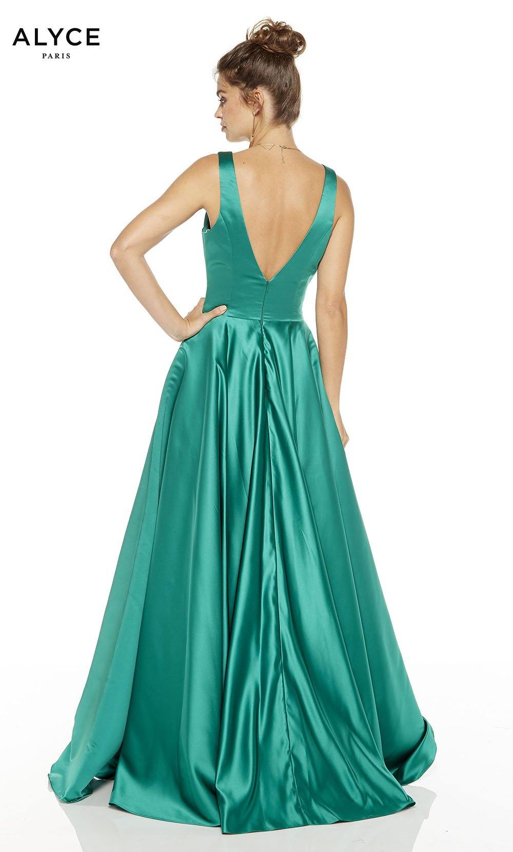 Emerald formal dress with a v-back