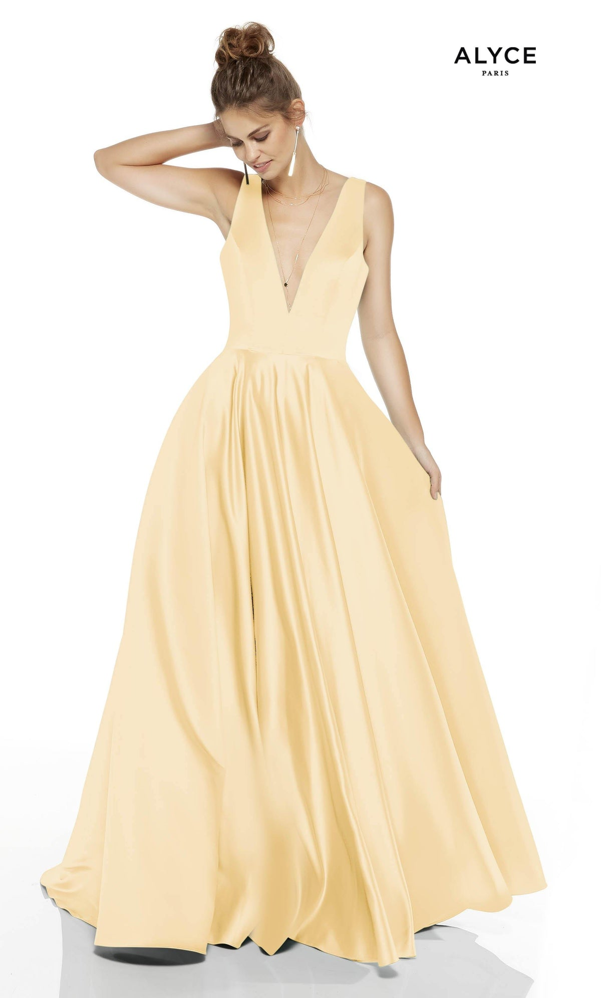 Light Yellow formal dress with a plunging neckline