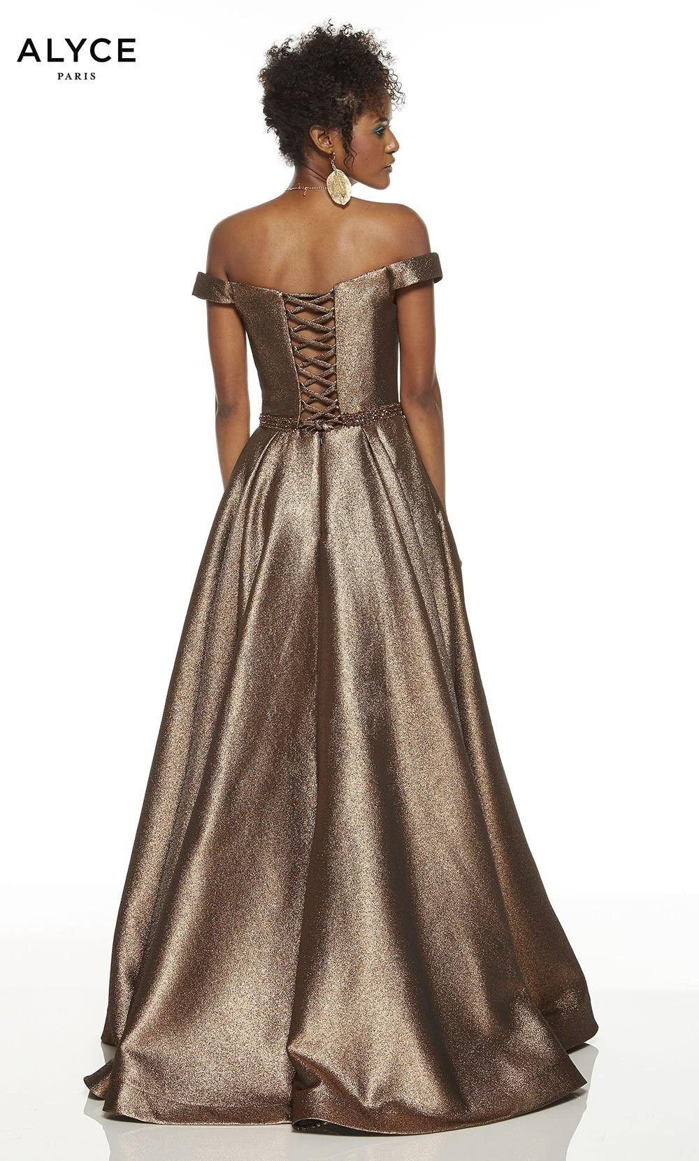 Bronze off the shoulder red carpet dress with a lace up back