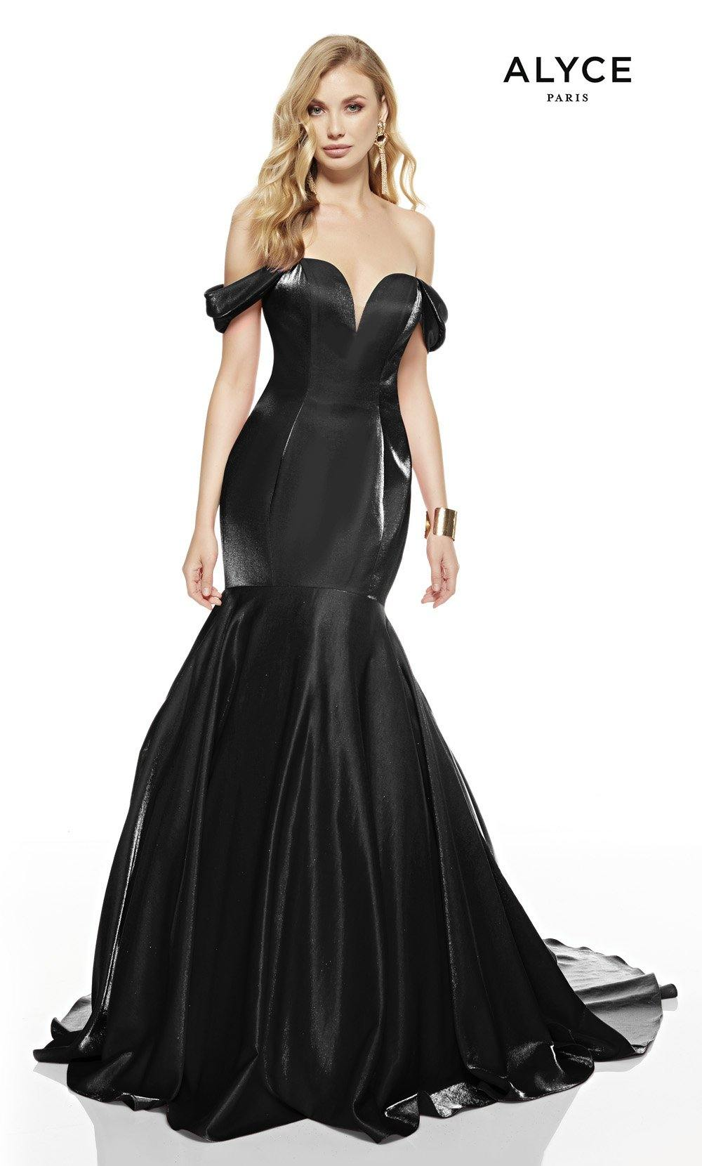 Black mermaid prom dress with an off shoulder neckline