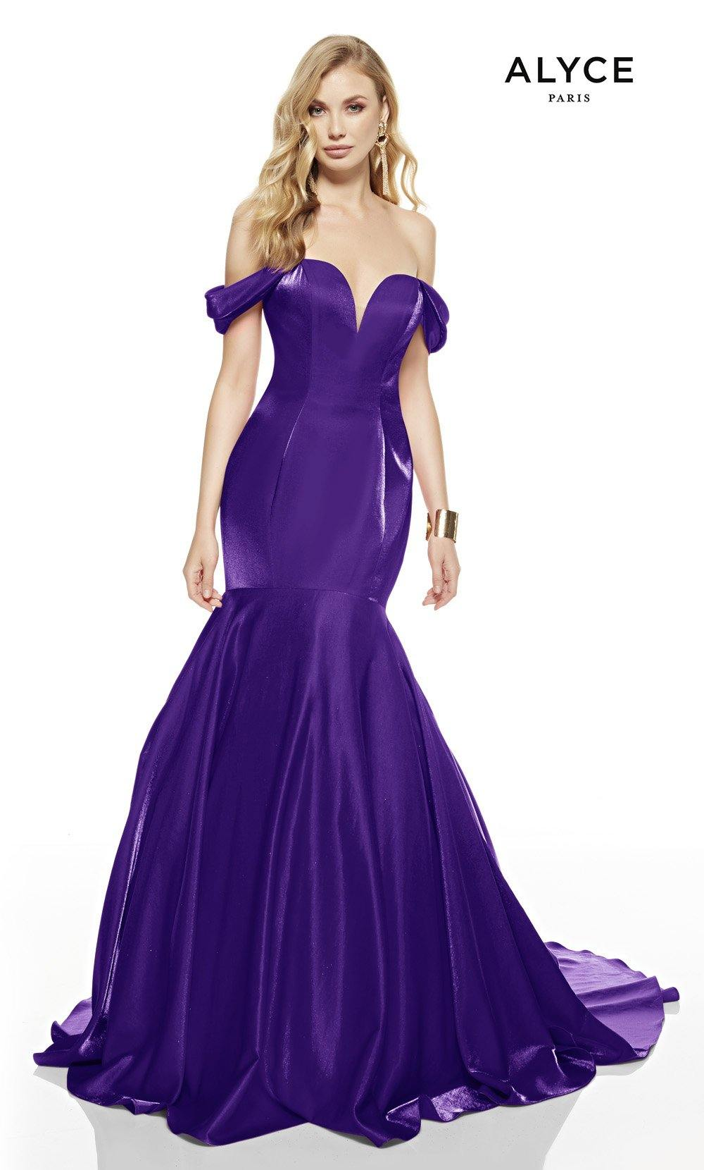 Cobalt mermaid prom dress with an off shoulder neckline