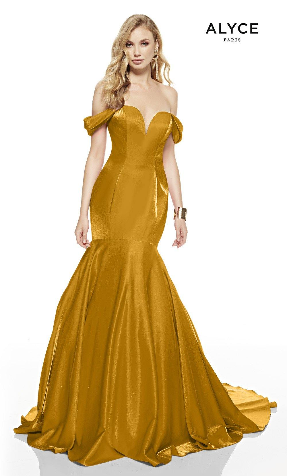 Marigold mermaid prom dress with an off shoulder neckline