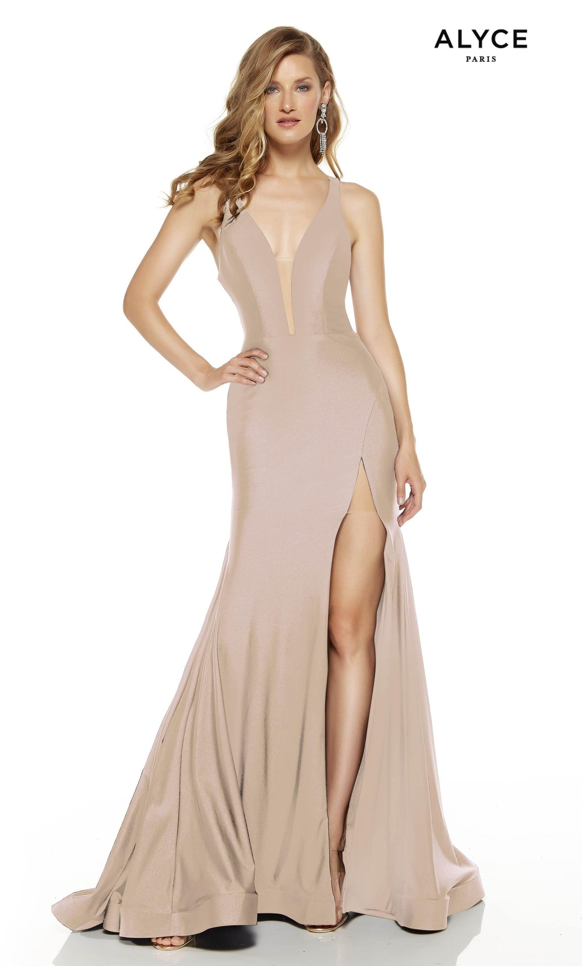Cashmere Rose prom dress with a plunging neckline and a slit