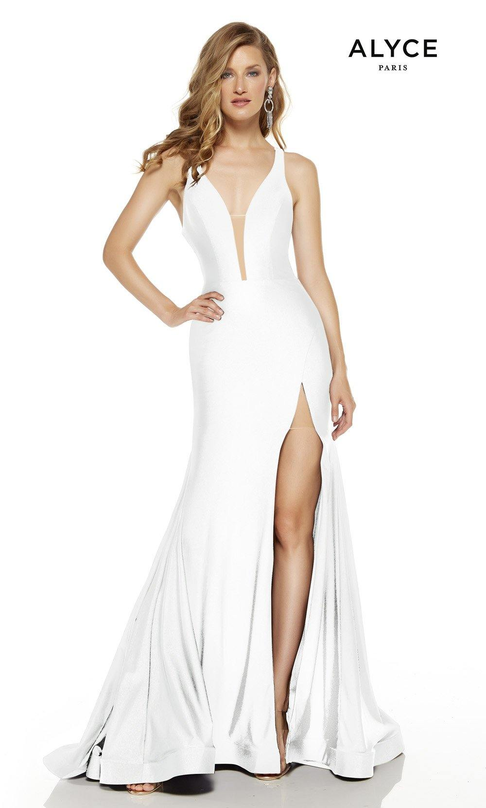 Diamond White prom dress with a plunging neckline and a slit