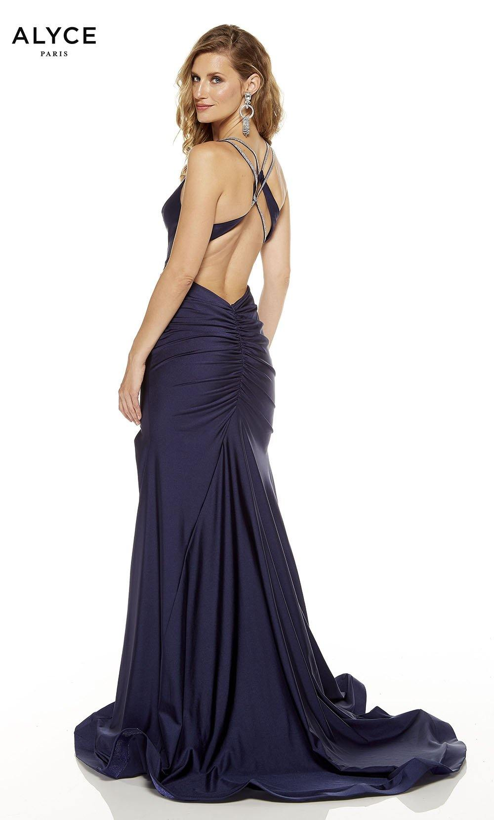 Midnight Blue prom dress with a cutout back