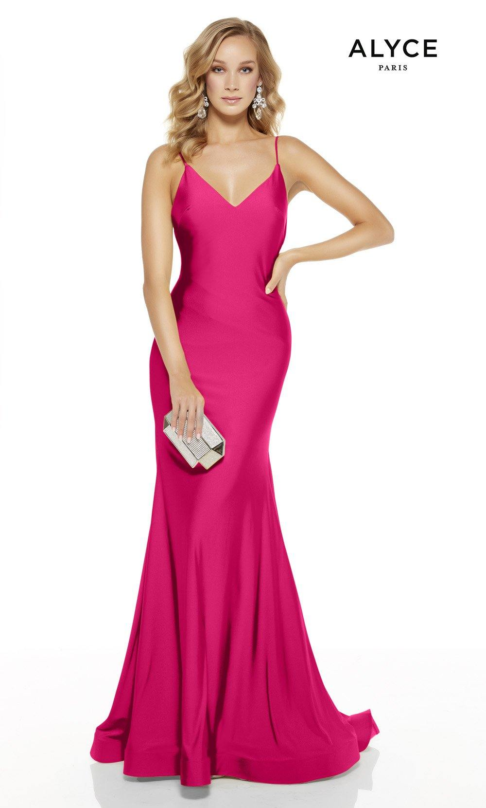 Barbie Pink mermaid prom dress with a v-neckline