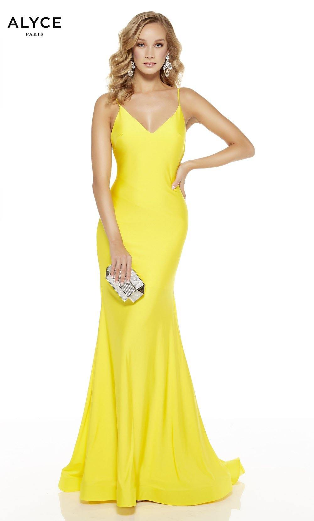 Bright Yellow mermaid prom dress with a v-neckline