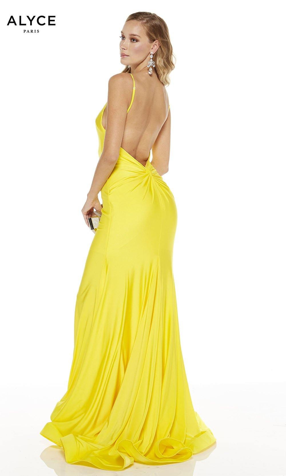 Bright Yellow mermaid prom dress with an open back