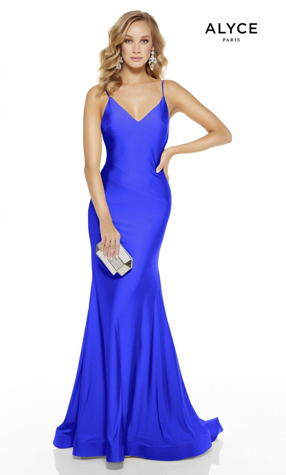 Electric Blue mermaid prom dress with a v-neckline