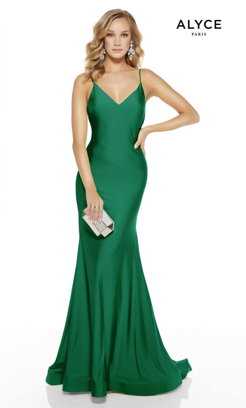 Emerald mermaid prom dress with a v-neckline