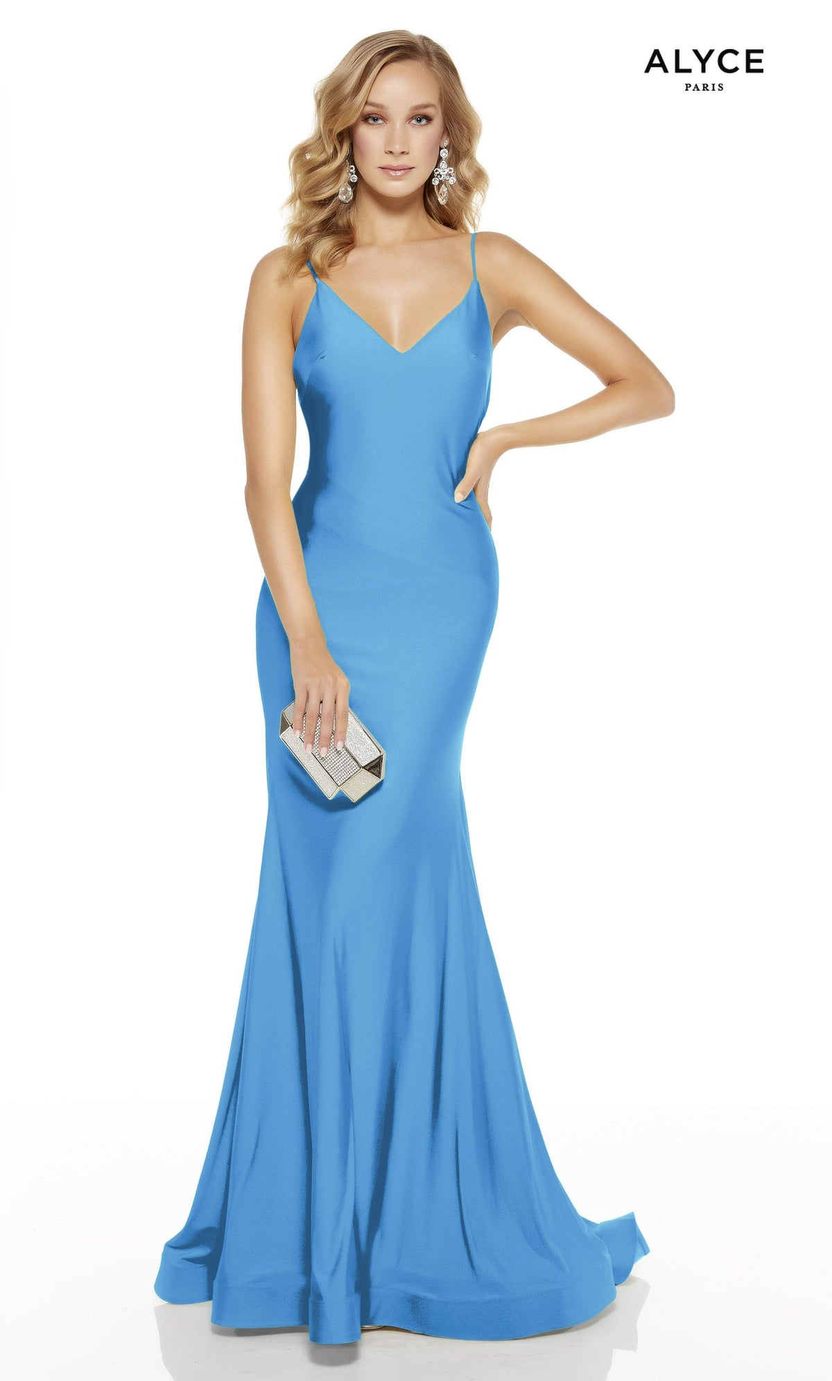 Ocean Blue mermaid prom dress with a v-neckline