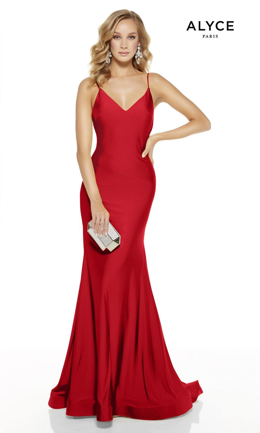 Red mermaid prom dress with a v-neckline