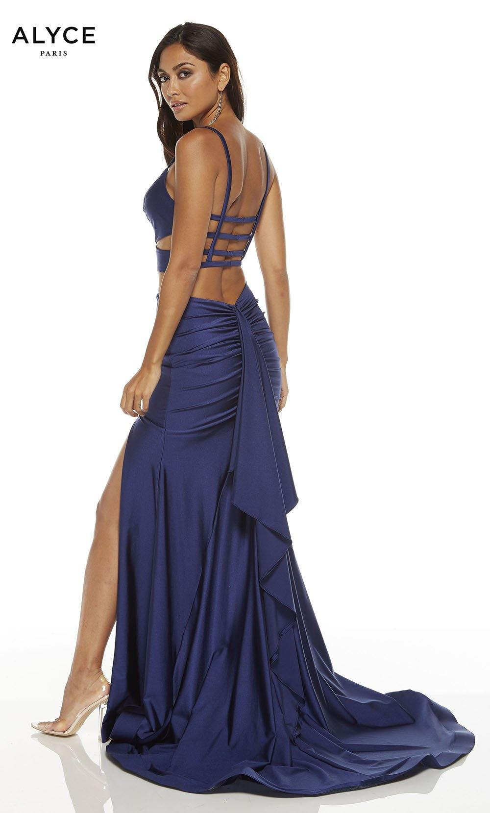 Midnight Blue two piece prom dress with a v-neckline, side cutouts and a slit