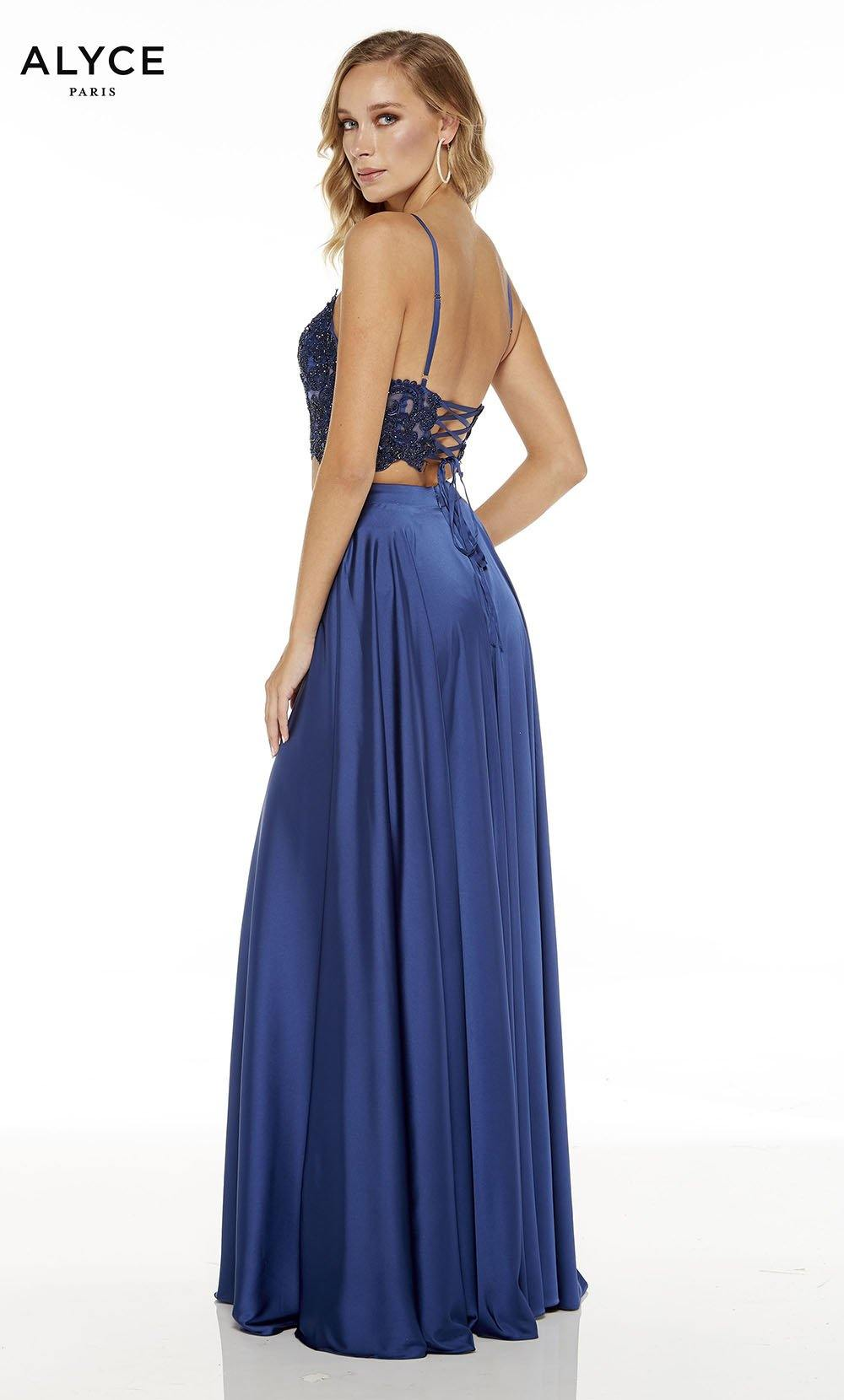 Navy Blue two piece red-carpet dress with a strappy back