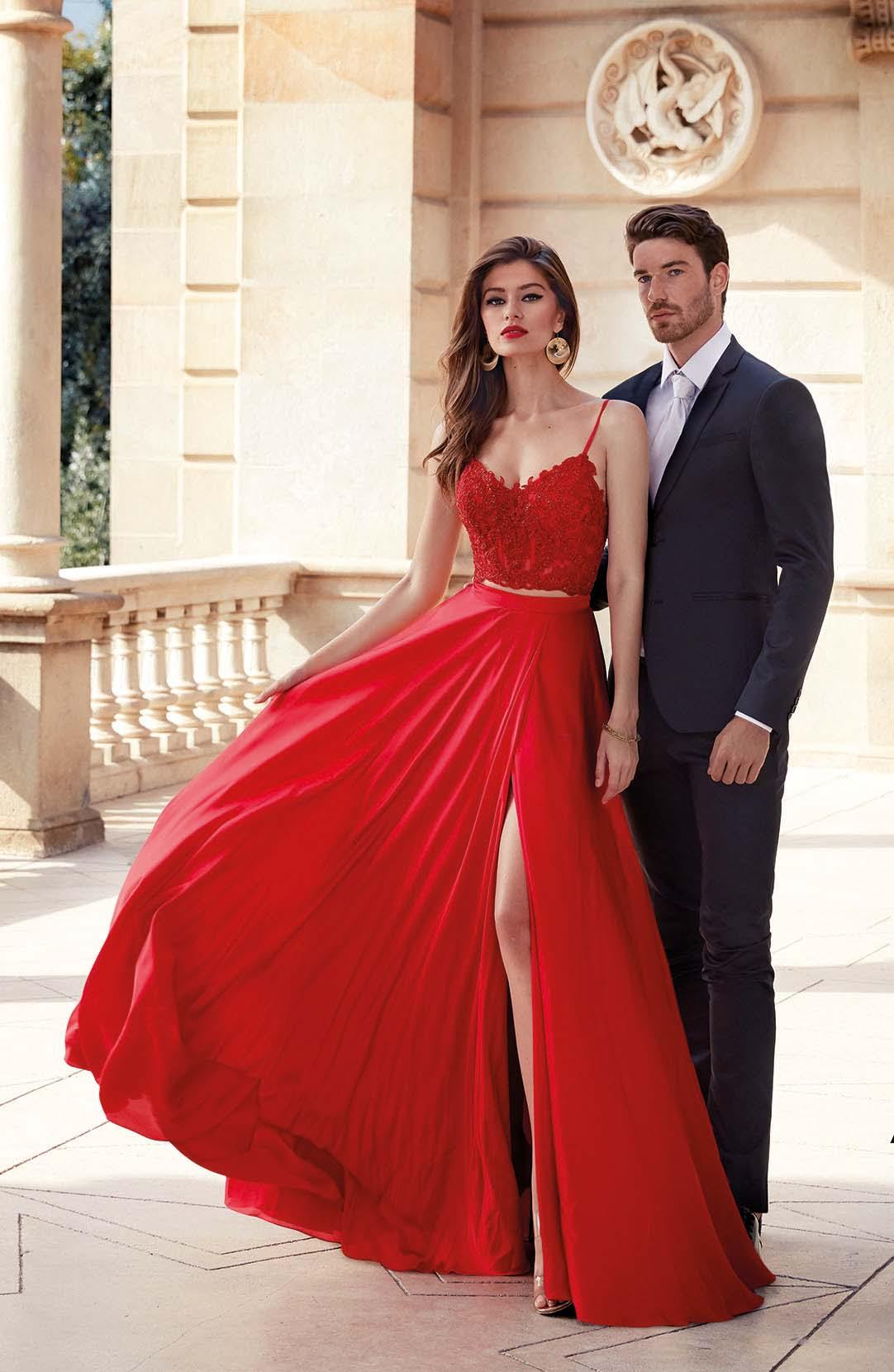 Red two piece formal dress with an embroidered crop top and a V-neckline
