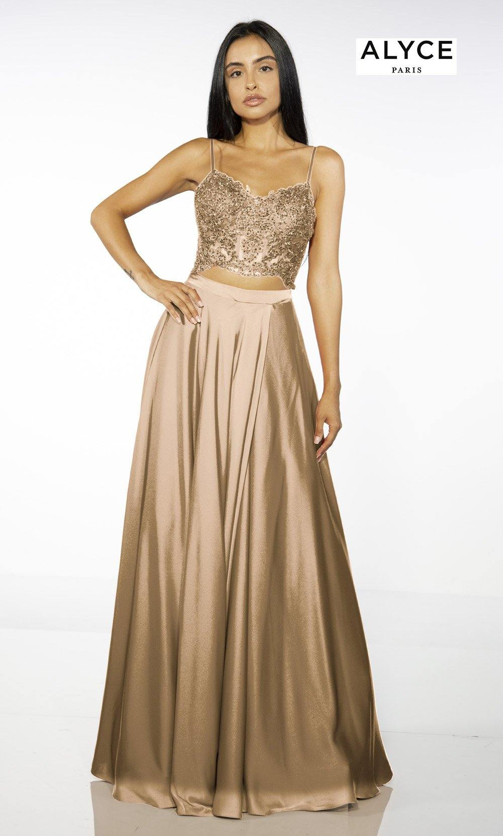 Rose Gold two piece red-carpet dress with an embroidered crop top and a V-neckline