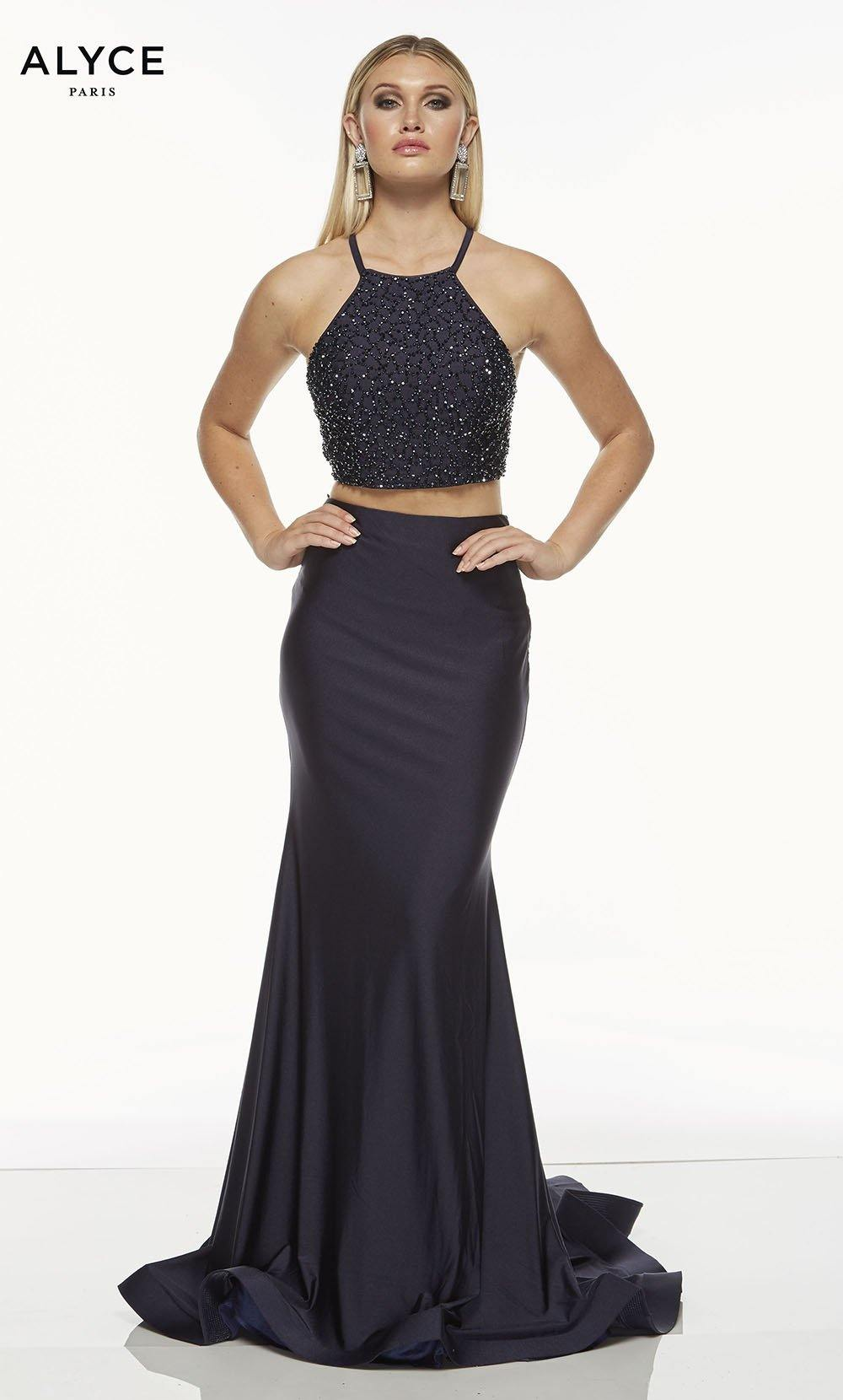 Midnight Blue two piece prom dress with a beaded halter crop top