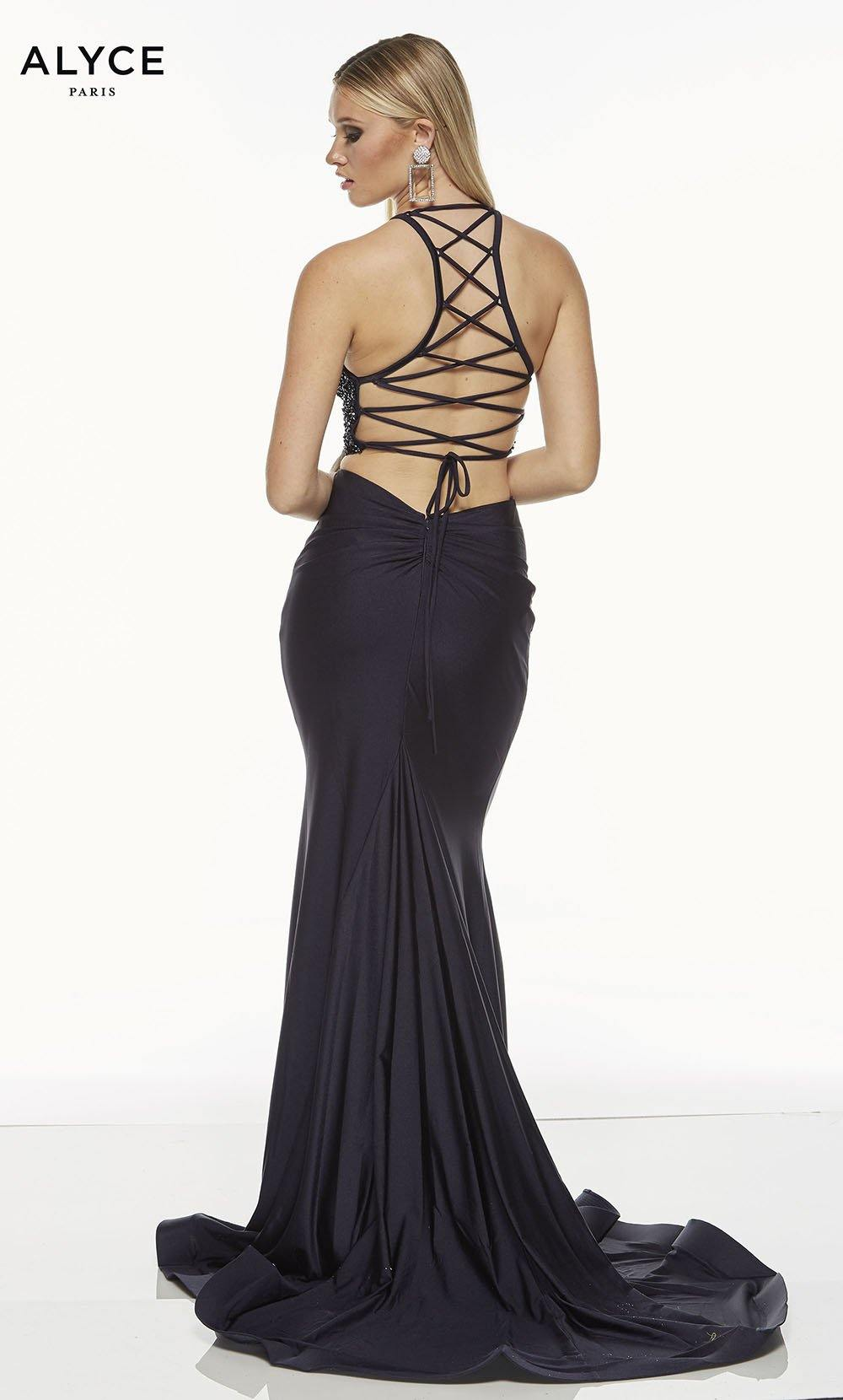 Midnight Blue two piece prom dress with a strappy back