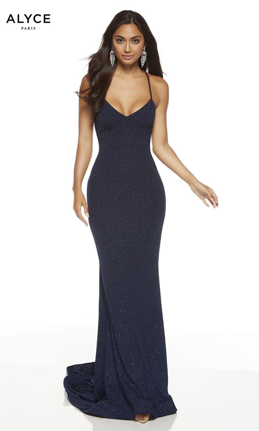 Midnight Blue bodycon red-carpet dress with a V-neckline