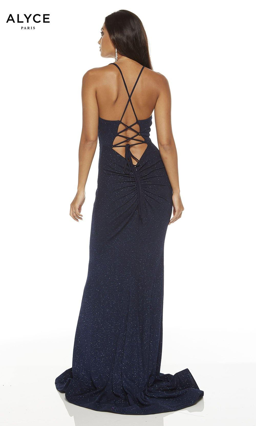 Midnight Blue bodycon red-carpet dress with a strappy back