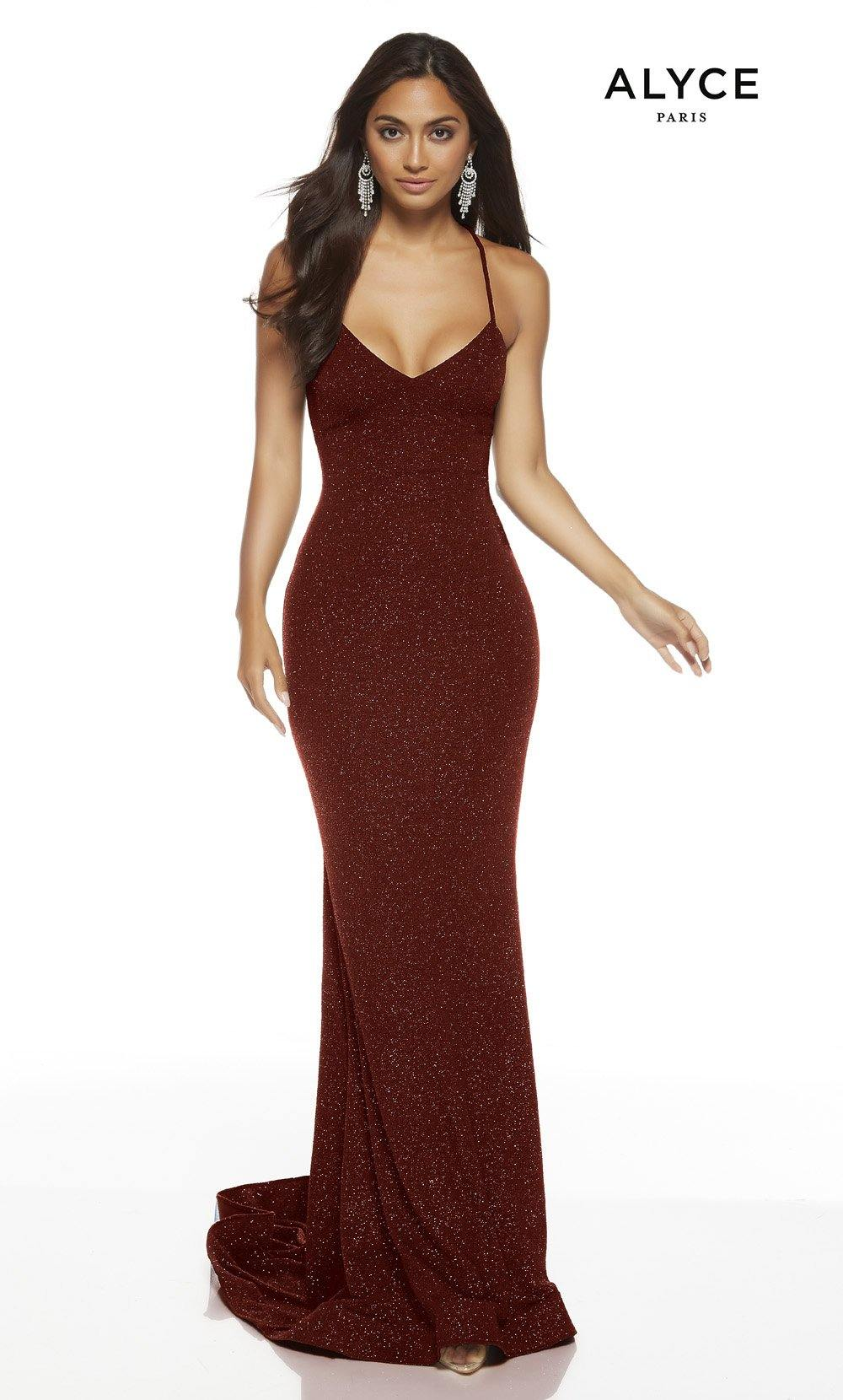 Wine bodycon red-carpet dress with a V-neckline