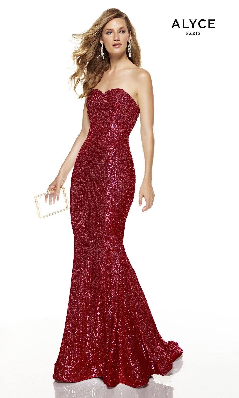 Wine strapless sequin mermaid dress