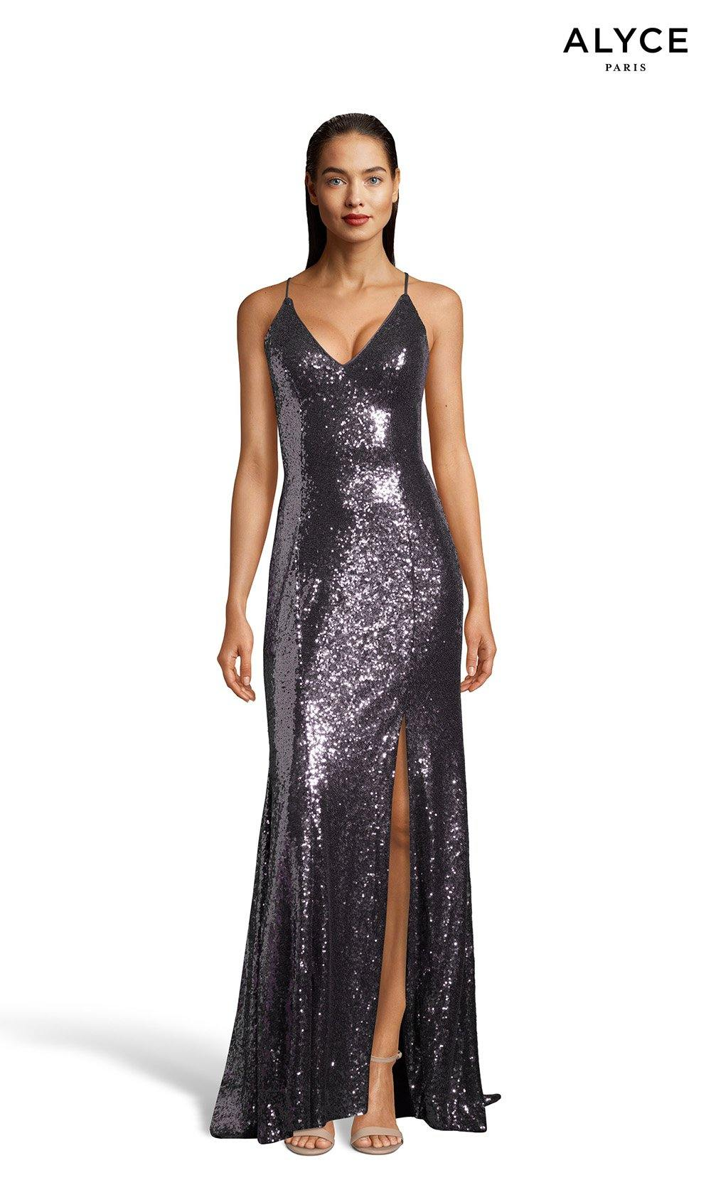 Charcoal sequin prom dress with a V-neckline and a slit