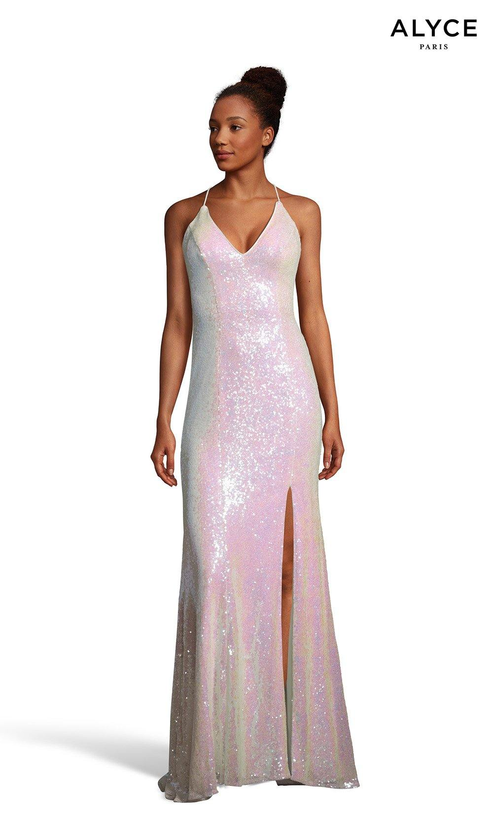 Opal sequin prom dress with a V-neckline and a slit