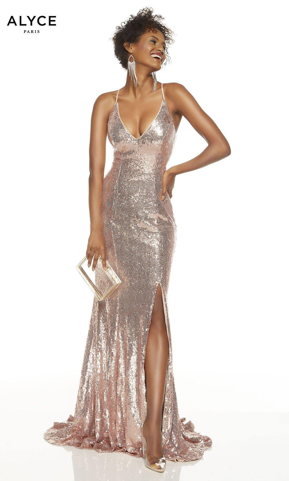 Rose Gold sequin prom dress with a V-neckline and a slit