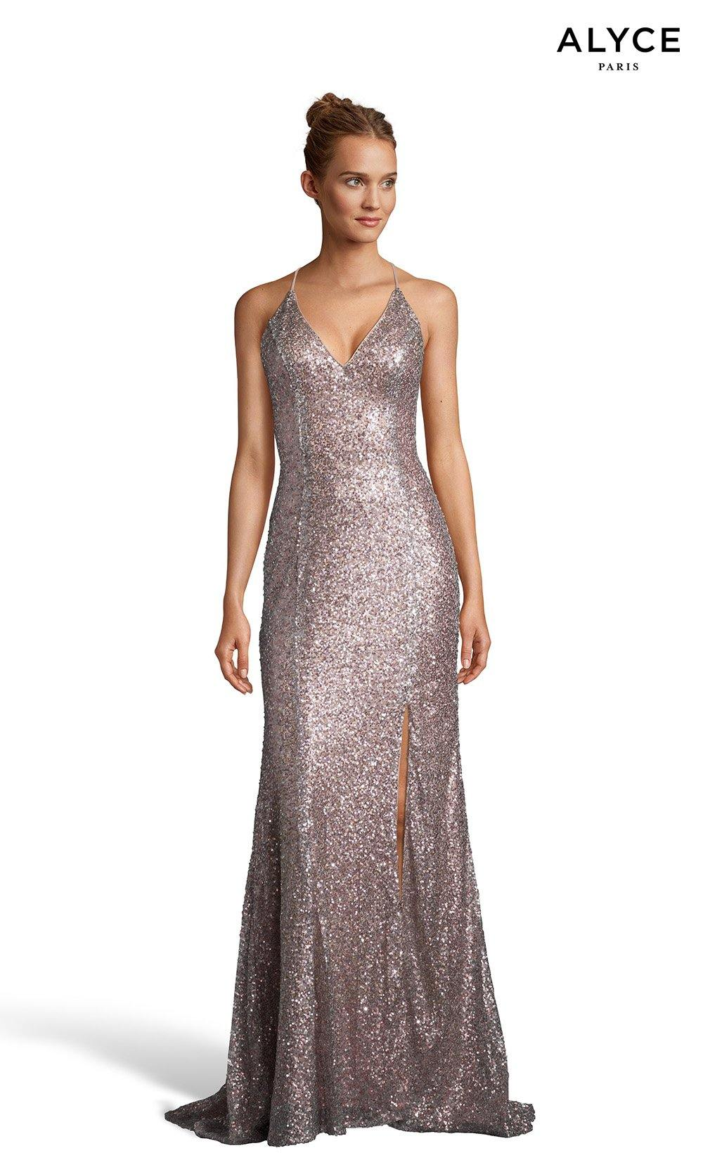 Soft Heather sequin prom dress with a V-neckline and a slit