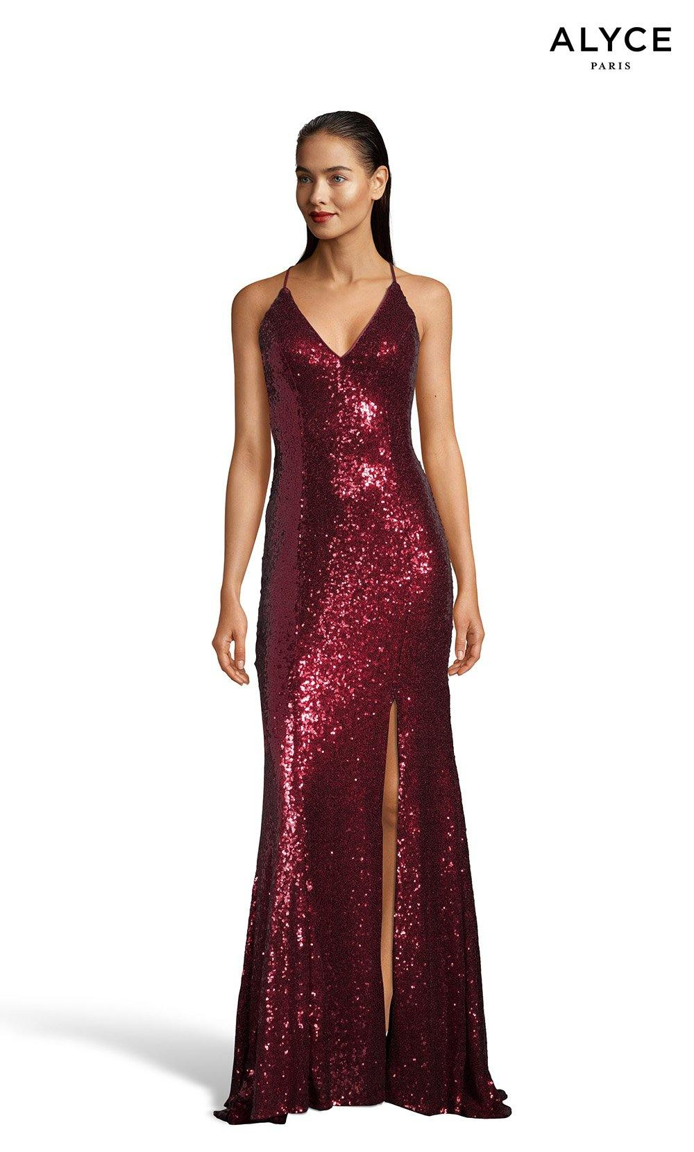 Wine sequin prom dress with a V-neckline and a slit