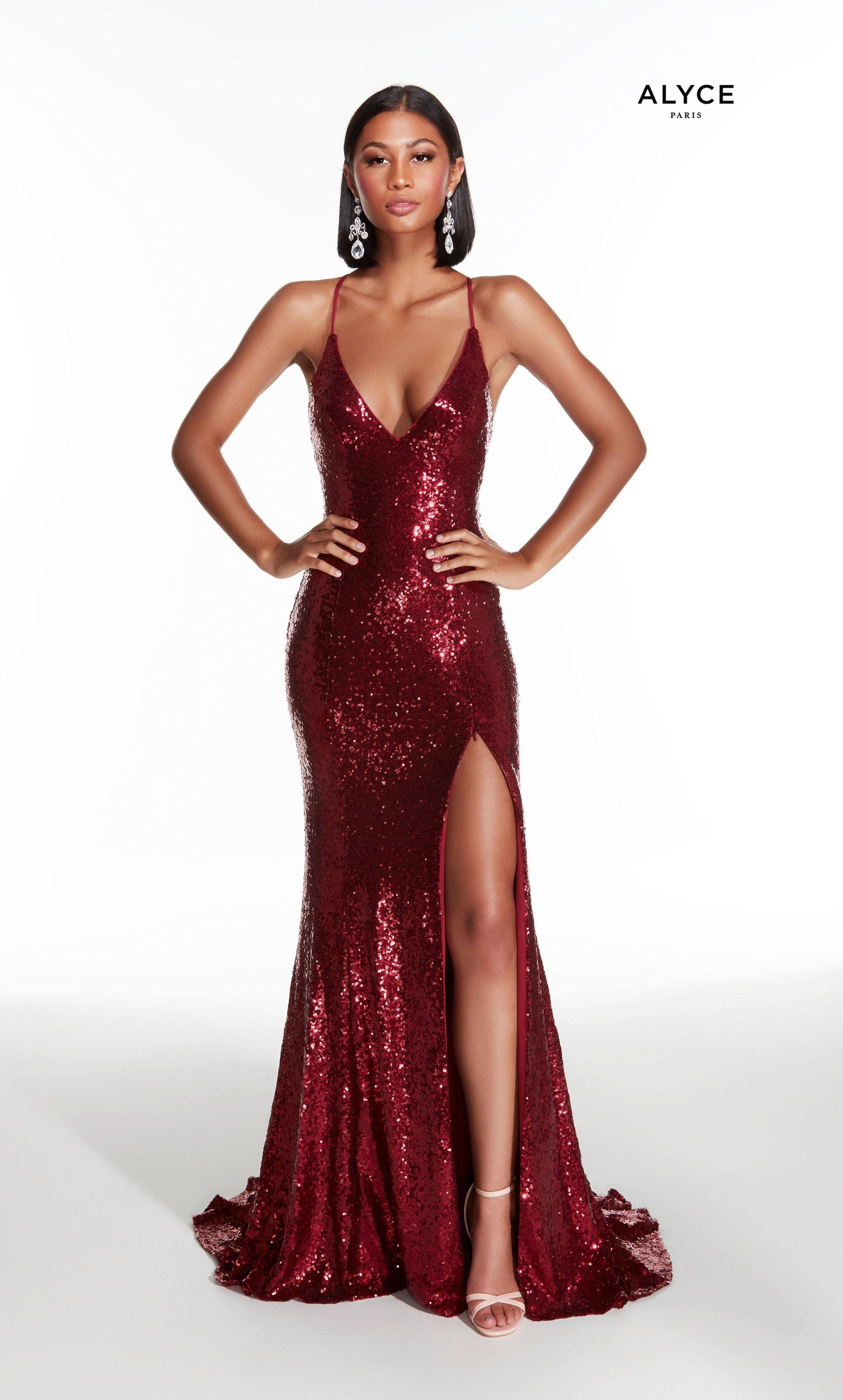 Burgundy sequin prom dress with a V neck and high slit