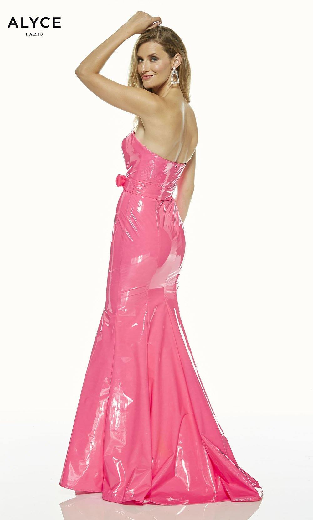 Barbie Pink strapless mermaid dress with a belt